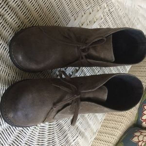 Burnished and weathered gray brown suede bootie
